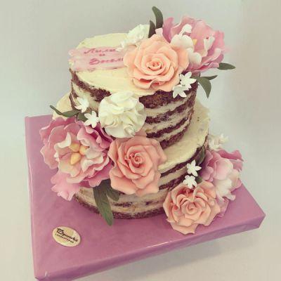 Сватбена торта - Розов букет