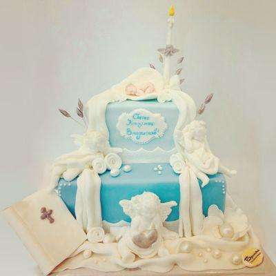Торта за кръщене - Angels blue