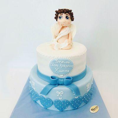 Торта за кръщене - Херувимче