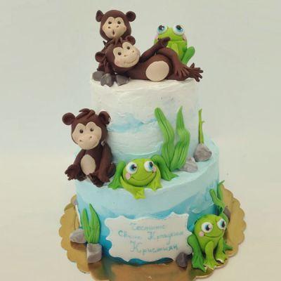 Торта за кръщене - Маймунки и жабки