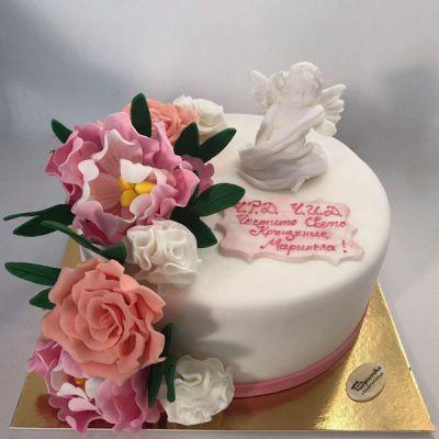 Торта с цветя 05-за кръщене