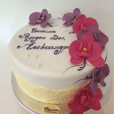 Торта розови Орхидеи