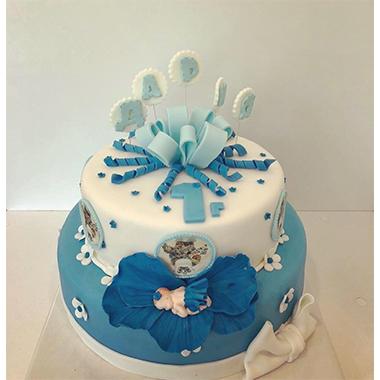 Торта бебе в синьо
