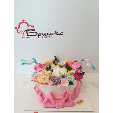 Торта за кръщене Цветна