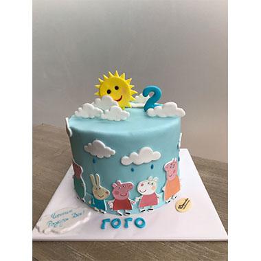 Торта Прасето Пепа в синьо