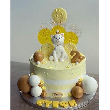 Торта бяло коте