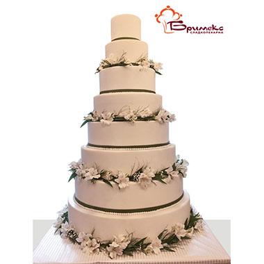 Торта Бели цветя